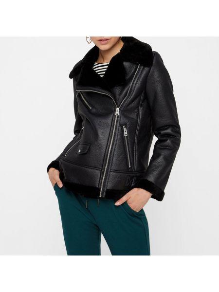Кожаная куртка укороченная с воротником стойкой Vero Moda
