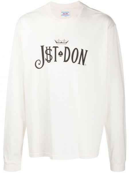 Biały t-shirt z długimi rękawami bawełniany Just Don