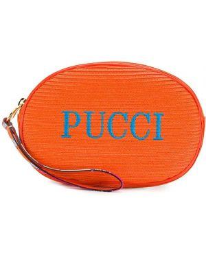 Pomarańczowa złota kosmetyczka z haftem Emilio Pucci