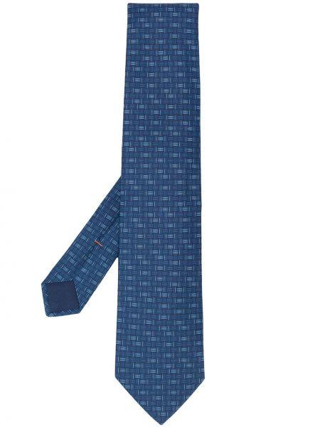 Jedwab niebieski krawat z obrazem Hermes