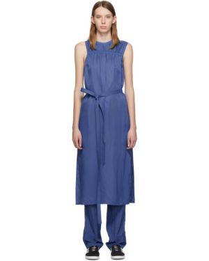 Платье с поясом плиссированное с отложным воротником Helmut Lang