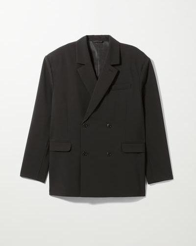 Черный пиджак двубортный Weekday