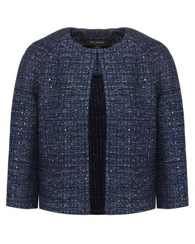 Прямой синий пиджак твидовый St. John