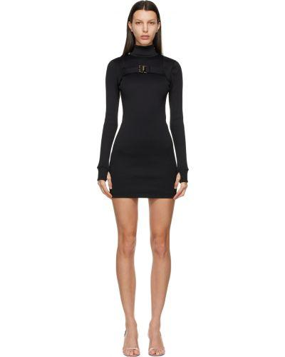 Prążkowana czarna sukienka mini z długimi rękawami Misbhv