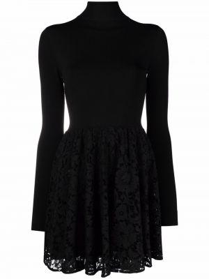Кружевное черное платье мини с длинными рукавами Valentino