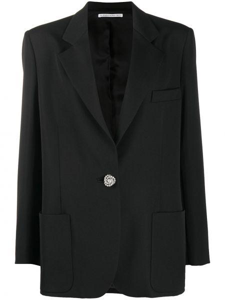 Шерстяной черный пиджак с воротником Alessandra Rich