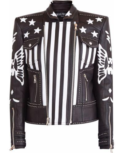 Кожаная куртка байкерская на молнии Balmain