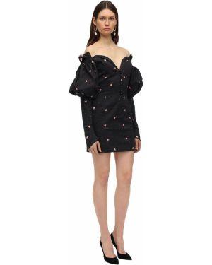 Ażurowa czarna sukienka mini z printem Marianna Senchina