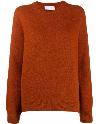 Оранжевый вязаный джемпер свободного кроя из альпаки с вырезом Christian Wijnants