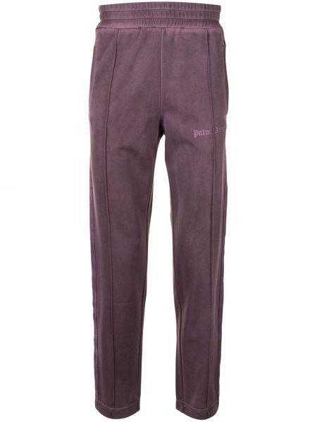 Fioletowy spodnie w paski z boku z kieszeniami z paskami Palm Angels