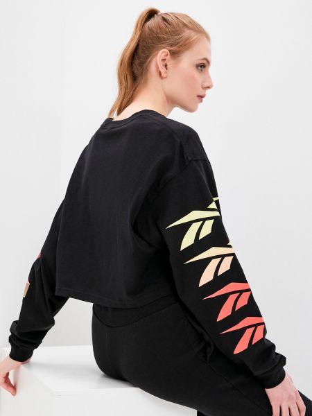 Черная футболка с длинными рукавами с вырезом Reebok