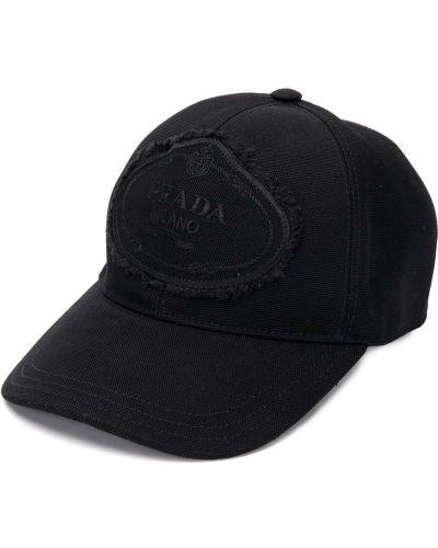 Bawełna bawełna czarny czapka z daszkiem z haftem Prada