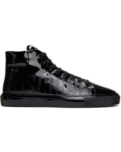 Czarny wysoki sneakersy z prawdziwej skóry zasznurować okrągły Moschino
