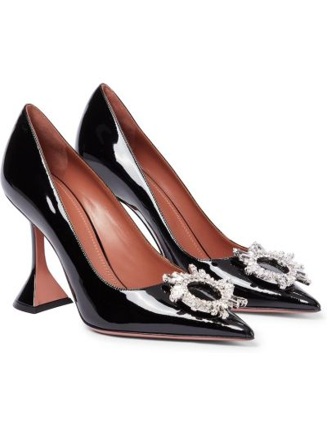 Черные кожаные туфли-лодочки с декоративной отделкой Amina Muaddi
