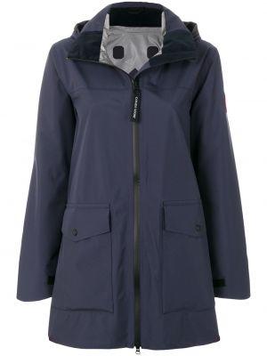 Нейлоновое синее длинное пальто с капюшоном Canada Goose