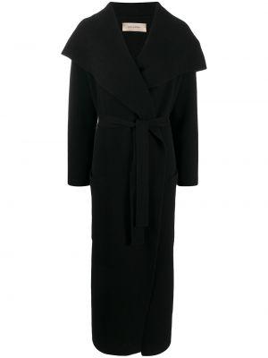 Классическое кашемировое черное пальто классическое с поясом Gentry Portofino