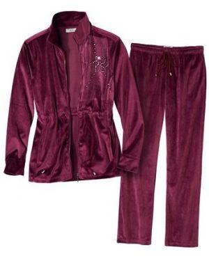 Фиолетовый велюровый спортивный домашний костюм свободного кроя Atlas For Men