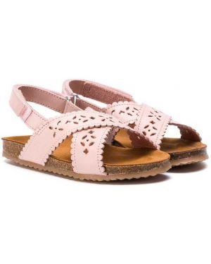 Кожаные открытые розовые босоножки с открытым носком Pépé Kids