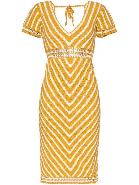 Нейлоновое желтое платье мини с V-образным вырезом на молнии She Made Me