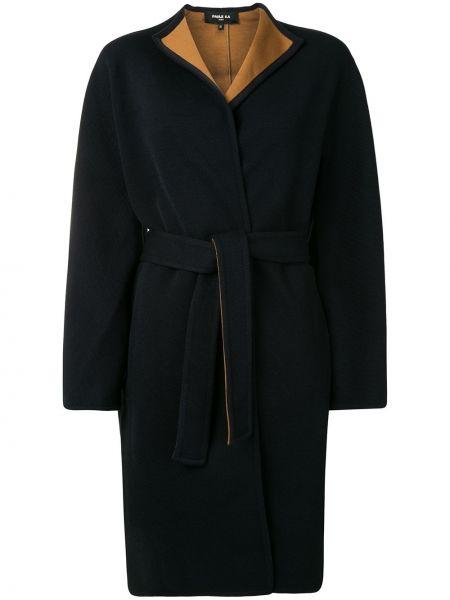 С рукавами синее шерстяное длинное пальто с карманами Paule Ka