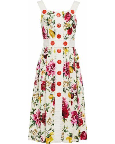 Хлопковое белое платье миди с подкладкой Dolce & Gabbana