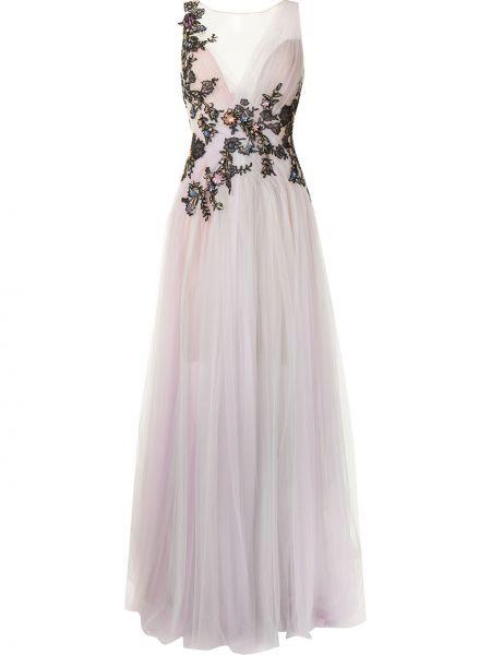 Фиолетовое вечернее платье с вышивкой из фатина Marchesa