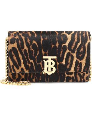 Маленькая сумка с леопардовым принтом на плечо Burberry