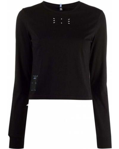 Черная прямая футболка с нашивками с принтом Mcq