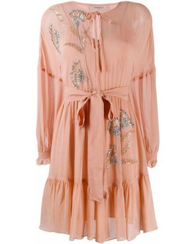 Платье с поясом розовое с бисером Twin-set
