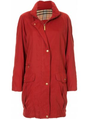 Красная нейлоновая куртка на кнопках с воротником Burberry Pre-owned