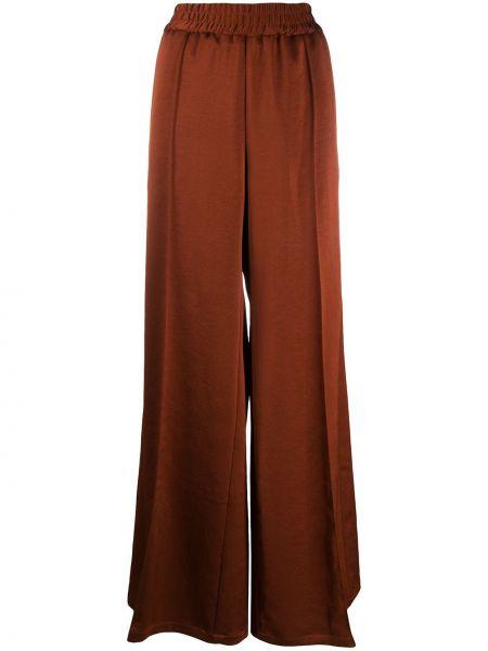 Коричневые плиссированные свободные брюки со складками с высокой посадкой Odeeh