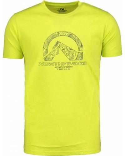 Żółty t-shirt materiałowy na co dzień Northfinder