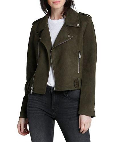 Зеленая замшевая длинная куртка на молнии Vigoss