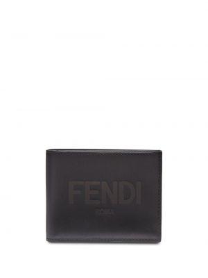Czarny portfel na monety skórzany Fendi