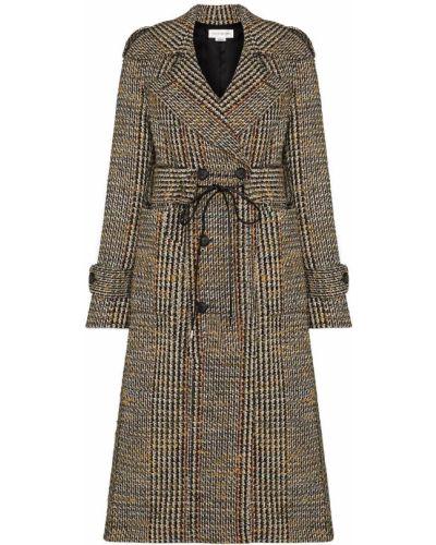 Шерстяное черное пальто в клетку Victoria Beckham