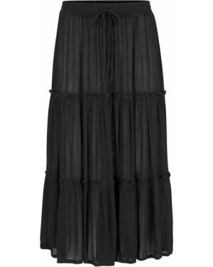 Черная ажурная юбка миди каскадная в рубчик Bonprix