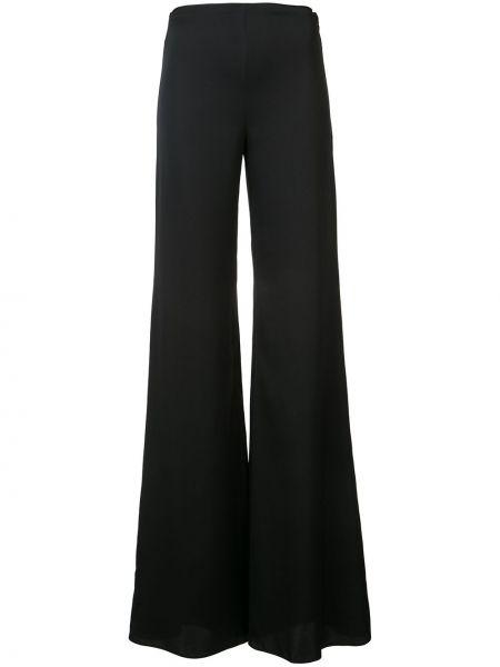 Czarne spodnie z wysokim stanem z jedwabiu Vionnet