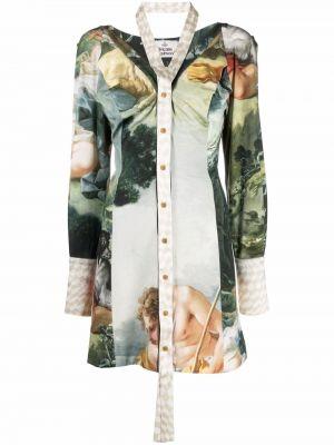 Шелковое платье миди - зеленое Vivienne Westwood