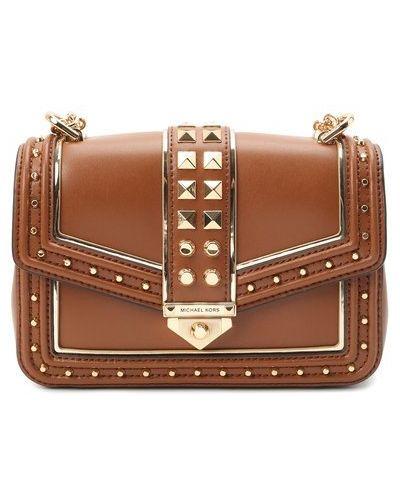 Кожаная сумка через плечо - коричневая Michael Michael Kors