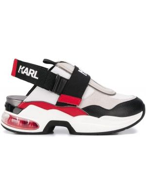 Skórzane sneakersy rzep z logo Karl Lagerfeld