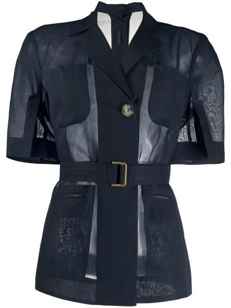 Синий пиджак с поясом с короткими рукавами Eudon Choi
