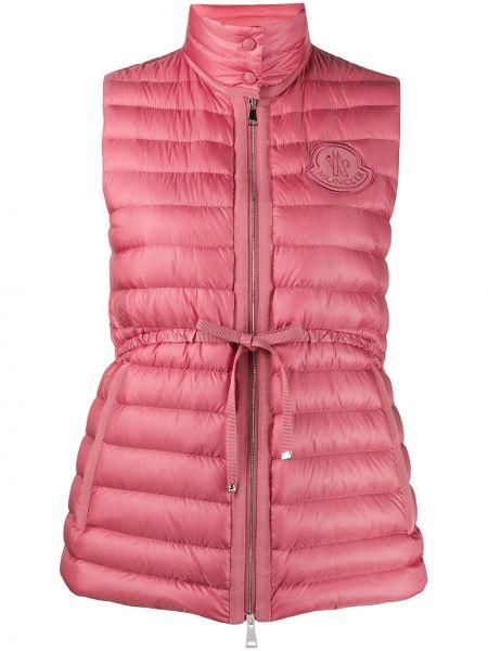 Розовая стеганая жилетка на молнии с воротником с карманами Moncler