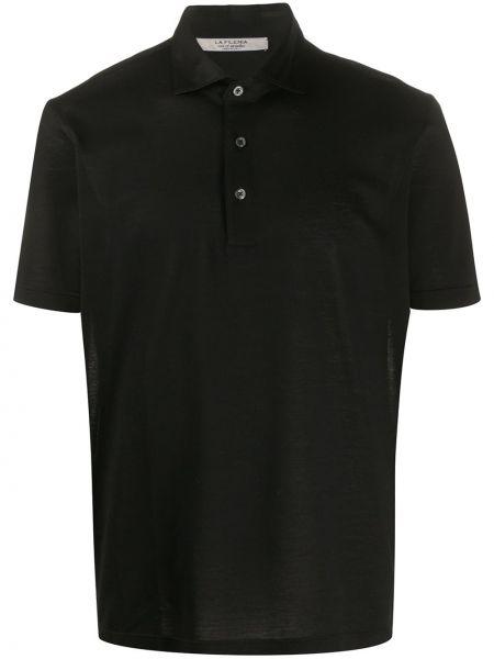 Классическая черная прямая классическая рубашка с воротником La Fileria For D'aniello
