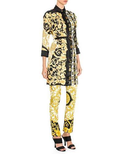 Шелковая туника с поясом на пуговицах Versace