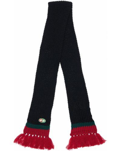 Czarny wełniany szalik frędzlami Gucci
