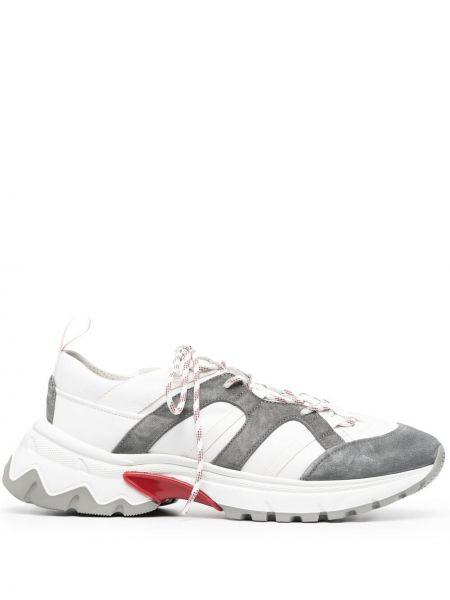 Кожаные белые кроссовки на шнуровке Eleventy