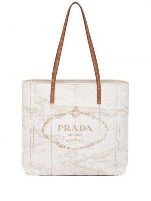 Brązowa torba na ramię skórzana z printem Prada