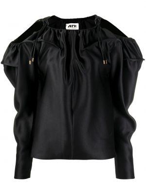 С рукавами черная блузка из вискозы Maison Rabih Kayrouz