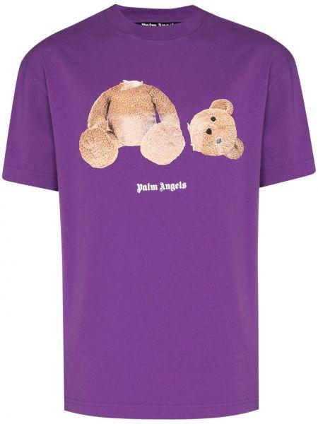 Fioletowy bawełna bawełna t-shirt Palm Angels