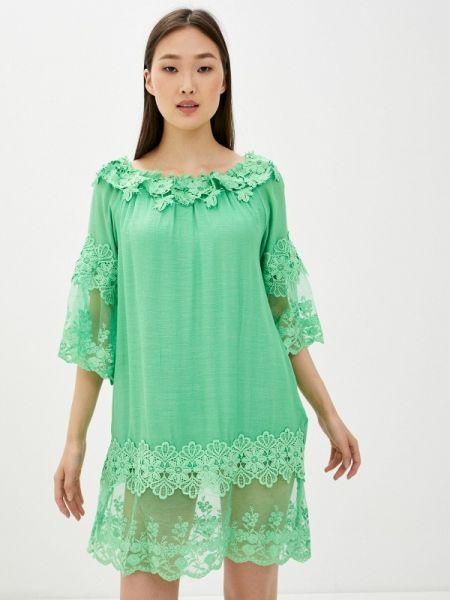 Платье с открытыми плечами зеленый By Swan